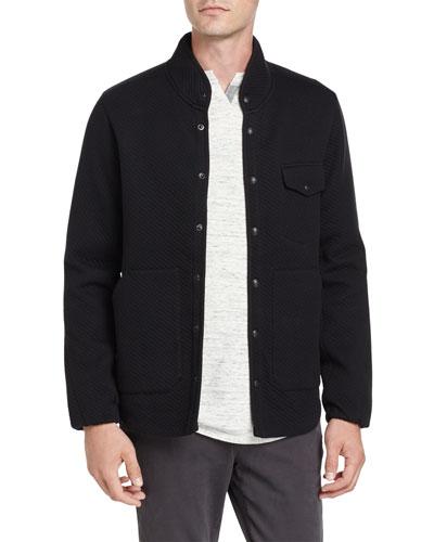 Twill Jacquard Field Jacket, Black
