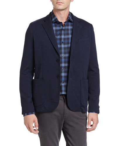 Heathered Knit Two-Button Blazer, Navy