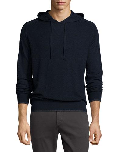 Merino Wool Pullover Hoodie, Navy