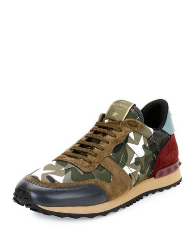 Men's Rockrunner Camustars Trainer Sneaker, Army Green/White