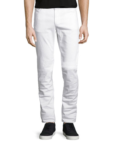 Slim-Fit Stretch-Denim Jeans, White