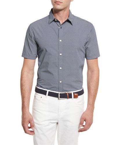 William Printed Short-Sleeve Sport Shirt, Navy