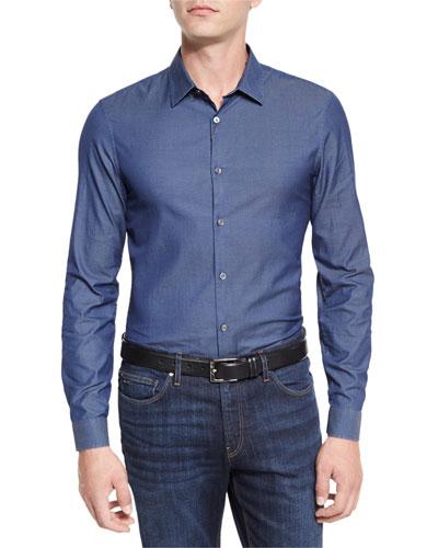 Italian-Woven Sport Shirt, Blue