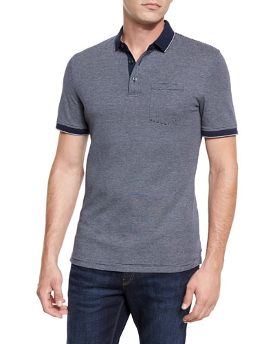 Fine-Stripe Pocket Polo Shirt, Navy