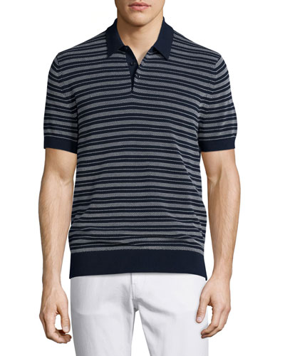 Textured-Stripe Polo Shirt, Navy