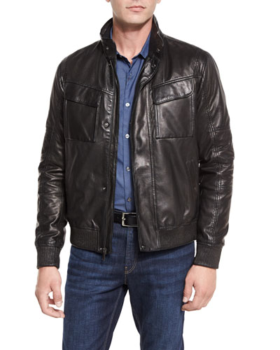 Perforated Leather Bomber Jacket, Black