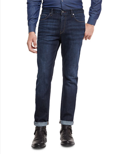 Slim-Fit Straight-Leg Jeans, Indigo
