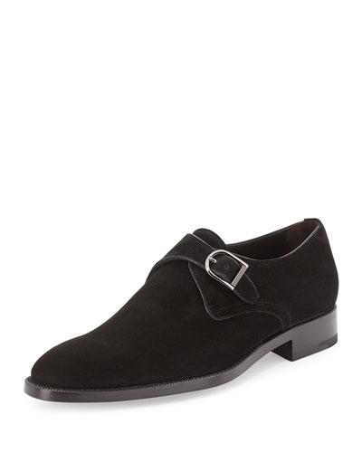 Garonne Monk-Strap Suede Shoe, Black
