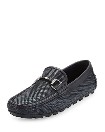 Woven Leather Bit-Strap Driver, Navy