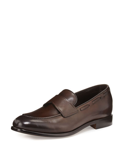 Burnished Leather Loafer, Brown