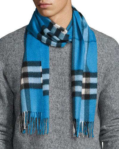 Men's Cashmere Giant Icon Scarf, Cornflower Blue