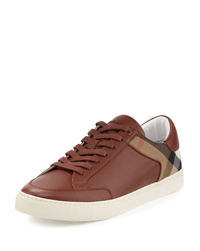 Rettford Check Leather & Suede Low-Top Sneaker, Camel