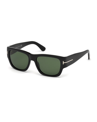Stephen Acetate Wrap Sunglasses, Black/Rose Gold