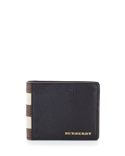House Check & Leather Hipfold Wallet, Black