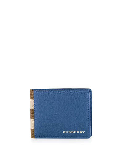 House Check & Leather Hipfold Wallet, Storm Blue