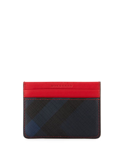 Sandon Check & Contrast Card Case, Navy/Red