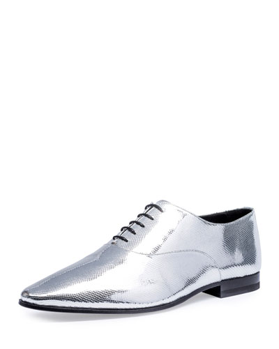 Lulu Metallic Python-Embossed 20mm Oxford Shoe, Silver