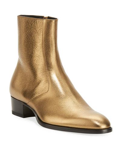 Wyatt 40mm Men's Metallic Leather Ankle Boots, Gold