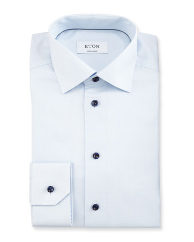 Slim Textured Cotton Dress Shirt, Light Blue