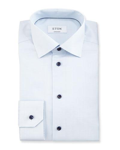 Slim Textured Cotton Dress Shirt, Light Blue