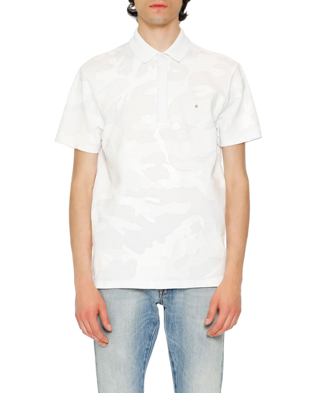 Tonal Camouflage Polo Shirt w/Rockstud, White
