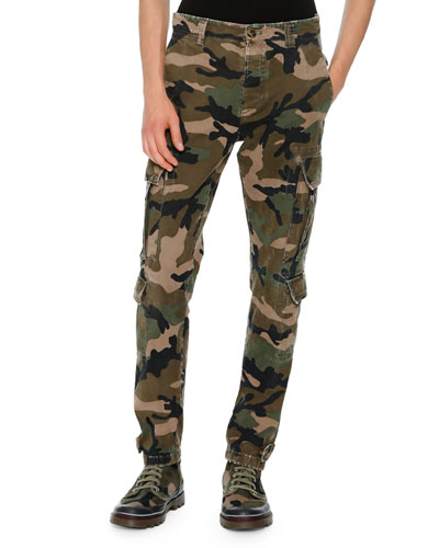 Camouflage Twill Cargo Pants, Green