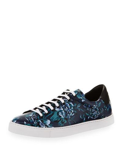 Albert Floral-Print Leather Low-Top Sneakers, Ink