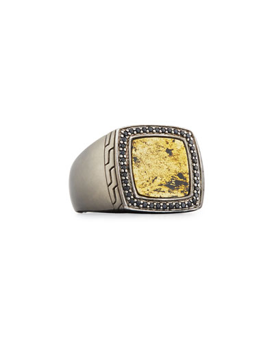 Men's Batu Classic Chain Silver Signet Ring with Black Sapphires, Size 10