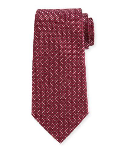 Woven Neat Silk Tie, Burgundy