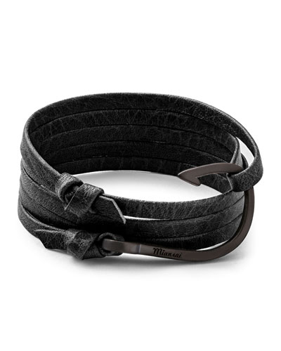 Leather Hook Bracelet, Asphalt