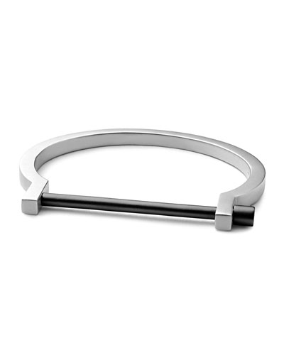 Modern Two-Tone Screw Cuff Bracelet, Matte Silver