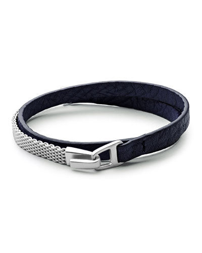 Moore Medium Leather & Chain Mesh Wrap Bracelet, Navy