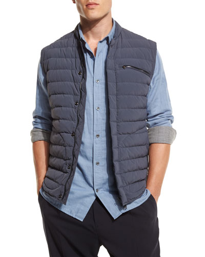 Quilted Nylon-Blend Down Vest, Gray