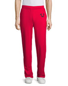Wide-Leg Sweatpants, Red