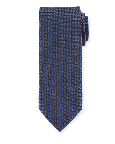 Textured Basketweave Woven Silk Tie, Navy