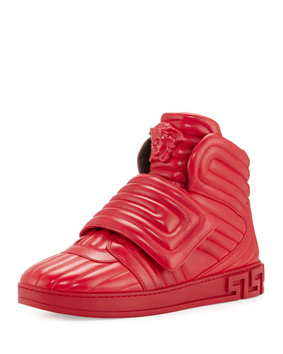 Aros Men's Quilted Leather High-Top Sneaker, Geranium Red