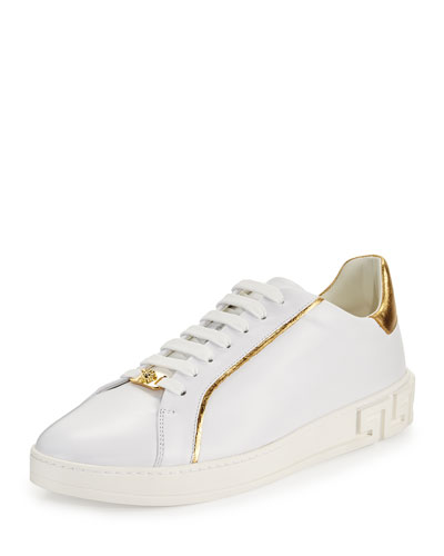 Golden-Trim Leather Low-Top Sneaker, White