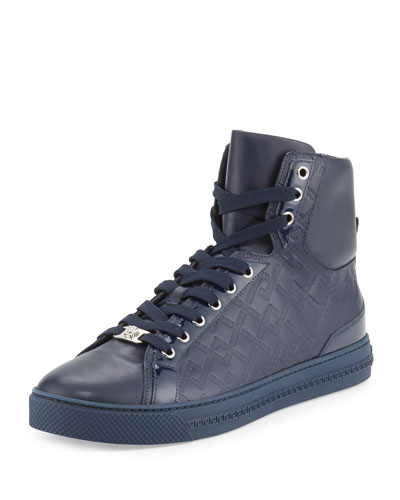 Greca-Embossed High-Top Sneaker, Navy