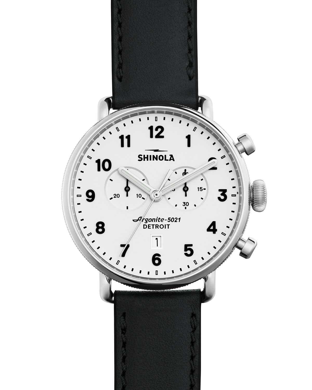 43mm Canfield Chronograph Watch, Black/White