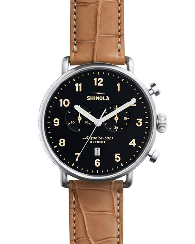 43mm Canfield Chronograph Watch w/Alligator Strap, Tan/Black