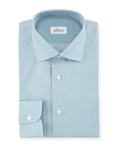 Micro-Check Woven Dress Shirt, Green