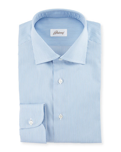 Micro-Striped Woven Dress Shirt, Blue
