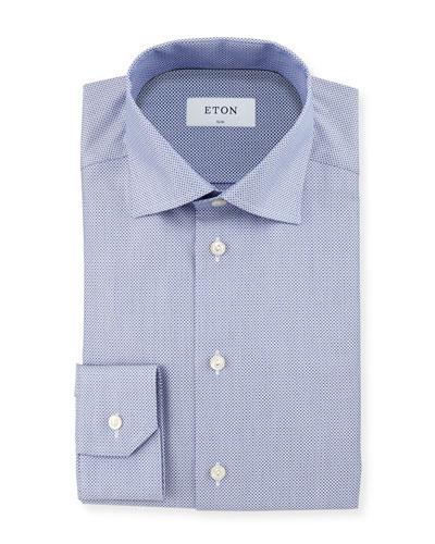 Neat Circle Textured Slim-Fit Dress Shirt, Blue