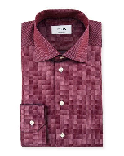 Contemporary-Fit Two-Tone Dress Shirt, Red/Gray