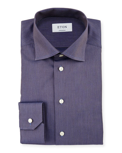Contemporary-Fit Two-Tone Dress Shirt, Blue/Brown