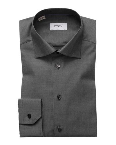 Slim-Fit Solid Dress Shirt, Charcoal