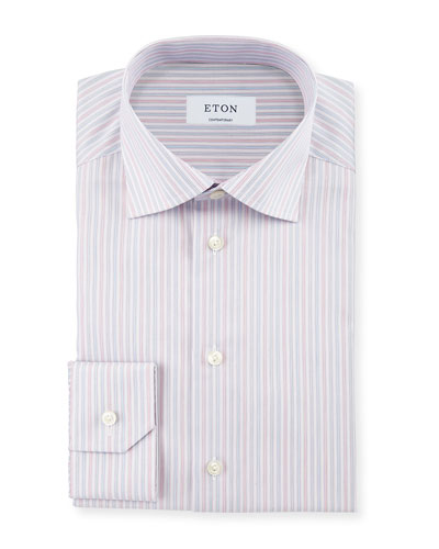 Contemporary-Fit Striped Dress Shirt, Coral/Light Blue