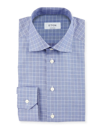 Contemporary-Fit Glen-Plaid Check Dress Shirt, Navy/Blue