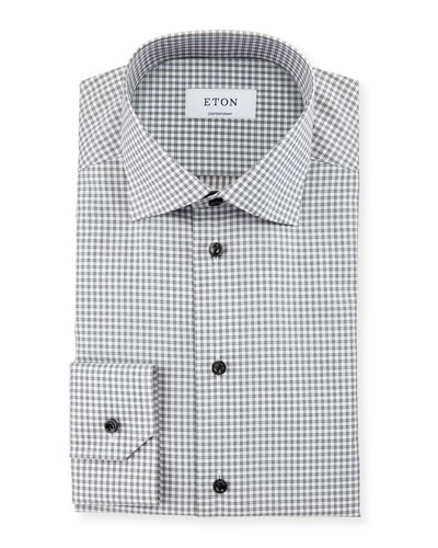 Contemporary-Fit Check Dress Shirt, Gray/White