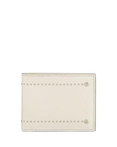 Runway Micro-Stud Bi-Fold Wallet, Chalk